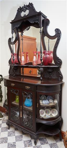 Sale 9103M - Lot 407 - A Victorian ebonised rosewood parlour cabinet with swan neck pediment and leaf scroll decorations, Height 250cm x Width 136cm x Dept...