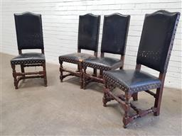 Sale 9142 - Lot 1024 - Set of Four French Leather High Back Chairs, in dark brown leather with brass studs, raised on turned legs with stretchers (h116 x w...