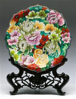 Sale 9138 - Lot 48 - A Cloisonne Floral Themed Charger on Stand (Dia:30cm)