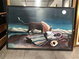 Sale 9139 - Lot 2093 - Artist Unknown Berber Dreaming, oil on board, frame: 111 x 158 cm