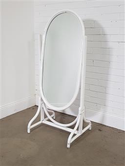 Sale 9191 - Lot 1007 - Painted cane cheval mirror (h150 x w64 x d54cm)