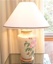 Sale 8346A - Lot 34 - An earthenware rose decorated lamp with cream shade, total H 66cm