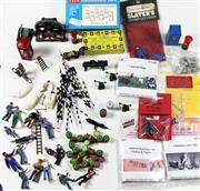 Sale 8376 - Lot 46 - Assorted O Gauge Figures and Accessories; lathe, presses, braziers, Washing line clothes and figure, milk churns, sign posts, dogs,...