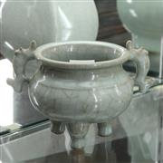 Sale 8362 - Lot 85 - Chinese Celadon Three-foot Incense Bucket; H12cm