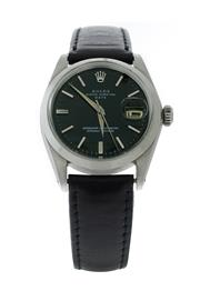 Sale 8406A - Lot 2 - Vintage mens Rolex wristwatch, circa 1964, Oyster Perpetual date, reference number 1500, black dial 35 mm in stainless steel case,...