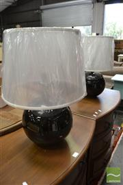 Sale 8480 - Lot 1143 - Pair of Black Ball Italian Made Table Lamps (2837)