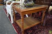 Sale 8507 - Lot 1027 - Pair of Glass Top Side Tables