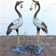 Sale 8607R - Lot 28 - Pair of Garden Cloissone Cranes with Gilt Bronze Peach Blossoms (H: 94cm)