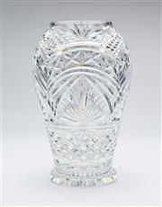 Sale 8651A - Lot 49 - An excellent quality Irish Waterford lead crystal large elaborately patterned vase, H 30 x D 18cm