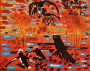 Sale 8732 - Lot 567 - Trevor (Turbo) Brown (1967 - 2017) - Magpie Family,2015 45 x 53cm