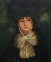 Sale 8821 - Lot 591 - Artist Unknown - Untitled (Portrait of a Young Woman) 1905 58 x 48.5cm