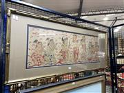 Sale 8891 - Lot 2021 - Balinese Mythical Painting on cotton: 44 x 106cm (frame)