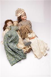 Sale 9060 - Lot 74 - A Collection 4 Vintage Dolls, one with a wax head, cracked