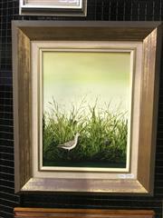 Sale 9072 - Lot 2029 - Sue Nagel Godwit Amongst The Reeds, oil on board, frame: 59 x 49 cm, signed lower right -
