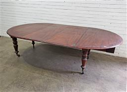 Sale 9097 - Lot 1057 - Victorian Mahogany Round Extension Dining Table, with two leaves & telescopic mechanism, raised on turned legs with castors (H:74 x...