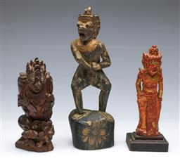 Sale 9093P - Lot 35 - Three Indonesian Carved and Painted Figures of Geruda and a Noble, tallest 28cm.
