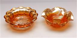 Sale 9131 - Lot 87 - Carnival glass bowl featuring grapes (Dia:16cm) together with another (Dia:15cm)