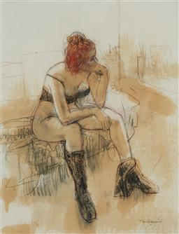Sale 9141 - Lot 507 - William Boissevain (1927 -) Nude with Red Hair mixed media on paper 69 x 53.5 cm (frame: 102 x 84 x 4 cm) signed lower right, Savill...