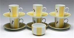Sale 9156 - Lot 85 - A French hand painted coffee suite for six
