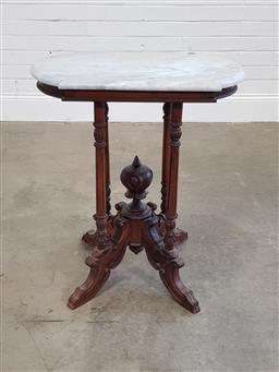 Sale 9196 - Lot 1093 - Indonesian Dutch Style Occasional Table, with shaped white marble top, on a turned bird-cage base with central finial (h95 x d38cm)...