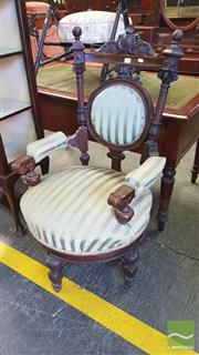 Sale 8402 - Lot 1055 - Late Victorian Walnut Armchair with Green Striped Upholstery