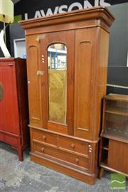 Sale 8515 - Lot 1008 - Timber Mirrored Door Wardrobe
