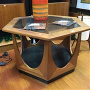 Sale 8643 - Lot 1031 - G Plan Hexagonal Coffee Table with Glass Top and Shelf