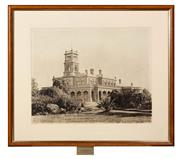 Sale 8653A - Lot 15 - An early photograph of The Werribee Park Historic Mansion, presented to Ray Marginson in 1995, 38 x 48cm