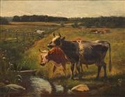 Sale 8656 - Lot 581 - Wilhelm Zillen (1824 - 1870) - Landscape with Cattle, 1864 36 x 46cm