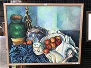 Sale 9045 - Lot 2003 - Artist Unknown (C20th) Still Life: Peaches, Textile and Urns acrylic on canvas 61 x 75 cm (frame) unsigned -