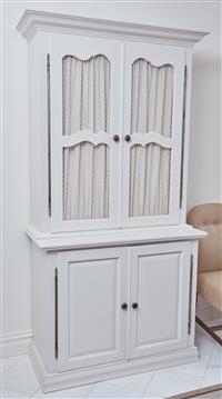 Sale 9090H - Lot 30 - Antony Loneragan custom built display cabinet, comes apart in two pieces, Height 220cm x Width 113cm x Depth 51.5cm.