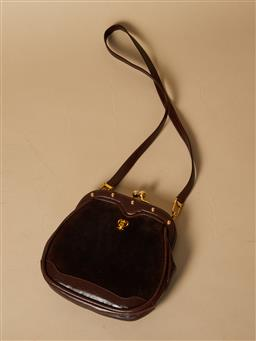 Sale 9093F - Lot 78 - An Emilio Pucci brown suede and leather purse with long strap