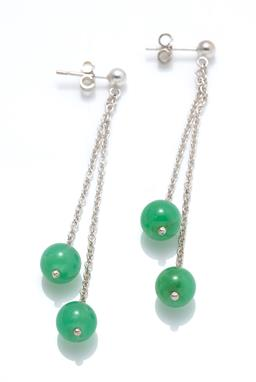 Sale 9246J - Lot 325 - A PAIR OF SILVER CHRYSOPRASE DROP EARRINGS; 2 cable link chain drops suspending 7mm round chrysoprase beads to stud fittings, length...