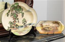 Sale 9256H - Lot 36 - A Royal Doulton Australian series dish depicting gum trees, W29.5cm, together with another Royal Doulton Rustic English dish, W23cm.