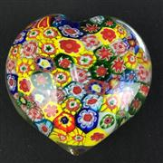 Sale 8402D - Lot 64 - Murano Millefiori Heart Shaped Paperweight (Length - 8cm)