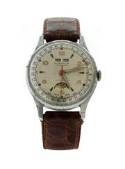 Sale 8406A - Lot 4 - Vintage mens 1950s Pierce triple date moon phase wrist watch, 17jewel Swiss made , 33mm wide x 40mm long, in working order