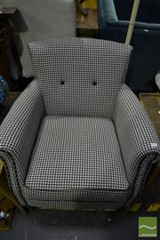 Sale 8472 - Lot 1015 - Pair of Sitting Chairs in Black and White Houndstooth