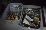 Sale 8518 - Lot 2331 - Cutlery Collection incl Antler Handled Knives & Forks