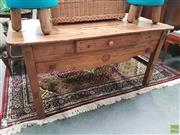 Sale 8601 - Lot 1014 - Rustic Timber Desk (H: 70 W: 144 D: 74cm)