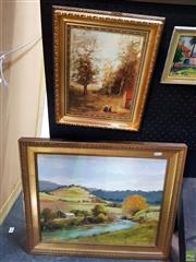 Sale 8659 - Lot 2027 - 2 Works: TB Fuller - Back to School, Oil on Board, SLL & Peryman - Rural Scene, Acrylic on Board, SLR