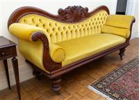 Sale 8735 - Lot 89 - A mid C19th double ended cedar show frame settee with gold button back gold velvet upholstery with impressive carving, on turned leg...