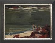 Sale 8856 - Lot 2064 - Margaret Woollard - Swimming at the Rocks, 1974 29.5 x 40cm