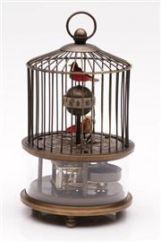 Sale 9052 - Lot 308 - Bird in cage form clock (H16cm)