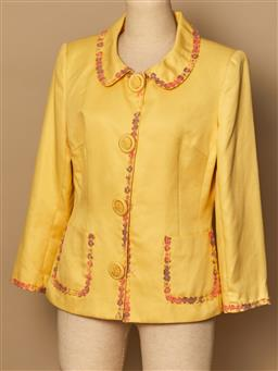 Sale 9093F - Lot 27 - A Moschino jeans Donna yellow jacket with floral design around lapels and pockets, size 10