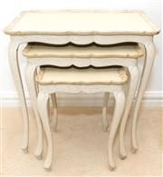 Sale 8341A - Lot 24 - A nest of three cream painted Florentine tables, larger table, H 57 x W 56 x D 36cm