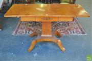 Sale 8390 - Lot 1090 - Biedermeier Style Inlaid Birch Sofa Table, with square pedestal and quadraform base