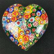 Sale 8402D - Lot 65 - Murano Millefiori Heart Shaped Paperweight (Length - 8cm)