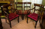 Sale 8418A - Lot 40 - A set of four mahogany bar back dining chair with blush upholstered seats, together with a pair of associated but not matching carve...