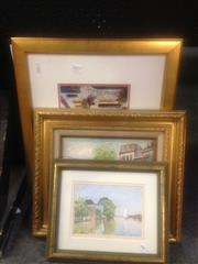 Sale 8655 - Lot 2057 - Group of (3) Artworks: J. Hardot Parisian Scene oil on board, signed lower right; plus (2) Decorative Prints (framed) -
