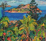 Sale 8665 - Lot 524 - John Rigby (1922 - 2012) - Seaforth Island from Lindeman Island Great Barrier Reef, 1986 54 x 59.5cm